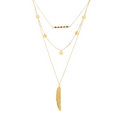 Imagen de Gold-Tone Stainless Steel Tiger's Eye Bead Bar/Feather/Stationed Freshwater Pearl & Disc Triple Layered Cable Chain Necklace