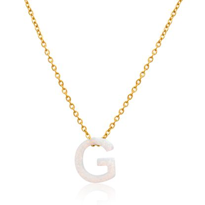 Imagen de Gold-Tone Stainless Steel Opal G Pendant Cable Chain Necklace