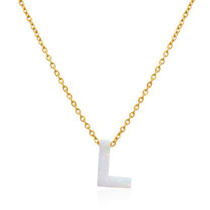 Imagen de Gold-Tone Stainless Steel Opal L Pendant Cable Chain Necklace