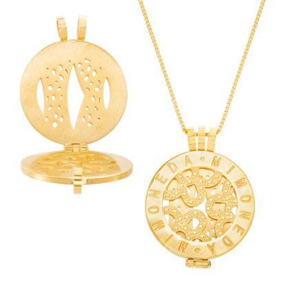Imagen de Gold-Tone Stainless Steel Round Mi Moneda Disc Pendant 30 Box Chain Necklace