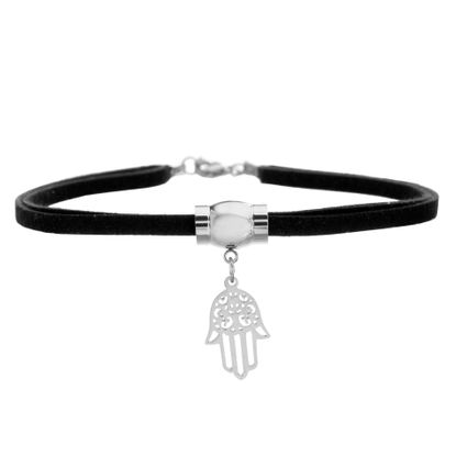 Imagen de Silver-Tone Stainless Steel Hamsa and Tassel Charm Double Layer Black Choker Necklace