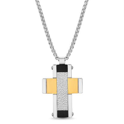 Imagen de Tri-Tone Stainless Steel Men's Hammered Textured Cross Pendant Box Chain Necklace