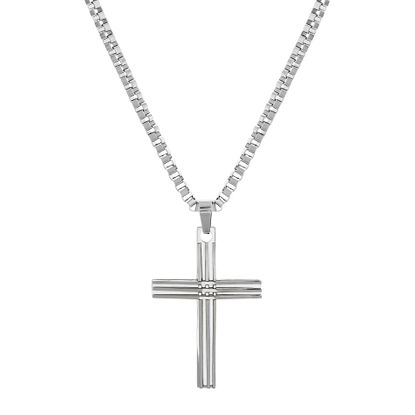 Imagen de Silver-Tone Stainless Steel Men's Ribbed Cross Pendant Box Chain Necklace