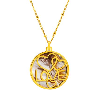 Imagen de Gold-Tone Stainless Steel Mother of Pearl/Heart/Love Disc Pendant 18 Cable Chain Necklace