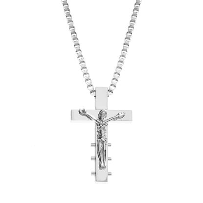 Imagen de Silver-Tone Stainless Steel Men's Textured Cross Pendant Cable Chain Necklace