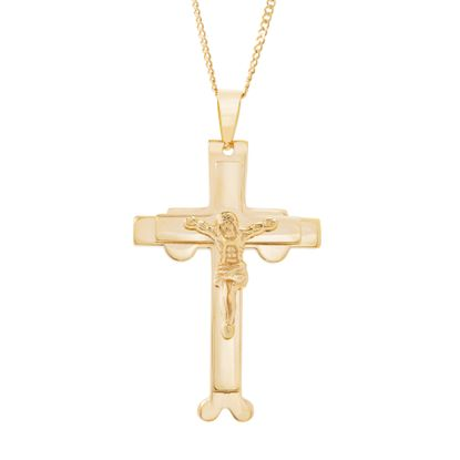 Imagen de Gold-Tone Stainless Steel Men's Religious Crucifix Cross Pendant Squared Curb Chain Necklace