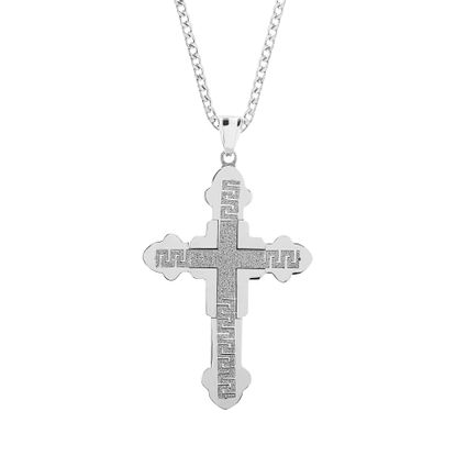 Imagen de Silver-Tone Stainless Steel Men's Glitter Greek Key Cross Pendant Curb Chain Necklace