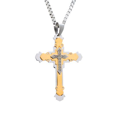 Picture of Two-Tone Stainless Steel Crystal Cross Box Chain Mens Necklace