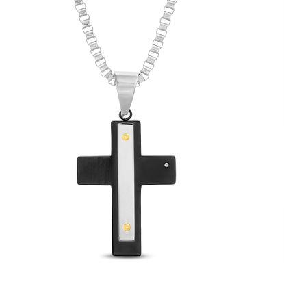 Imagen de Tri-Tone Stainless Steel Cubic Zirconia Cross Necklace