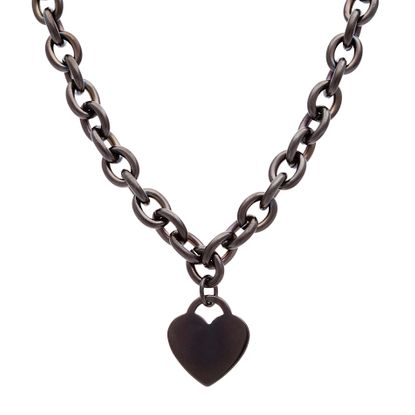 Imagen de Black-Tone Stainless Steel IP Heart Necklace