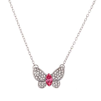 Imagen de Alloy Cubic Zirconia Clear/Pink Butterfly Design Pendant Cable Chain Necklace