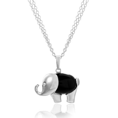 Imagen de Silver-Tone Alloy Black Onyx Elephant Pendant Double Strand Rolo Chain Necklace