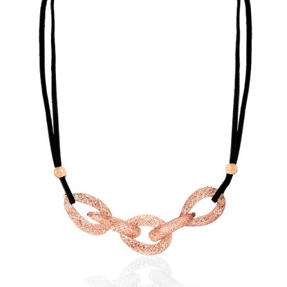 Imagen de Rose-Tone Alloy Crystal Interlocked Rings Black Cord Necklace