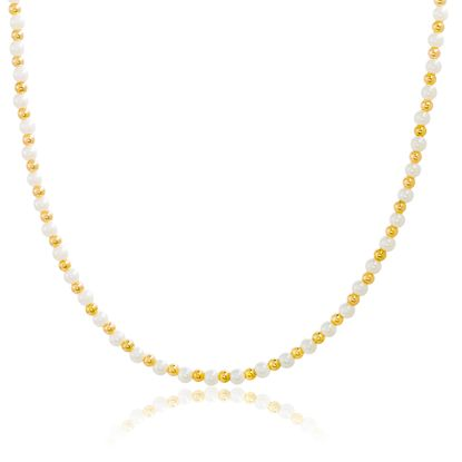Imagen de Gold Plated Alloy Freshwater Pearl & Polish Beaded Necklace