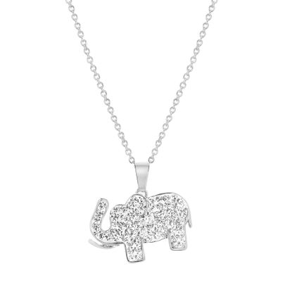 Picture of Silver-Tone Brass CZ Pave Elephant Cable Chain Necklace