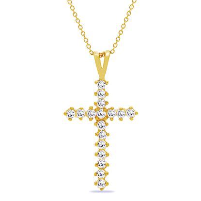 Picture of Sterling Silver Cubic Zirconia 17mm Cross Pendant