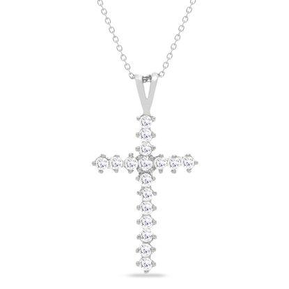 Imagen de Sterling Silver Cubic Zirconia 17mm Cross Pendant