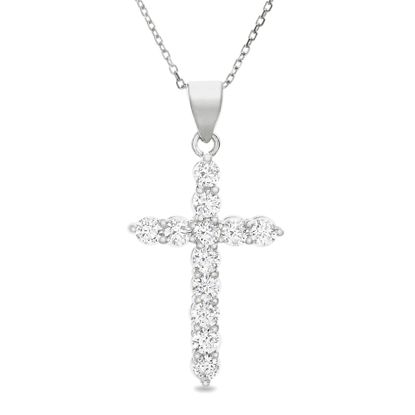 Imagen de Sterling Silver Cubic Zirconia Cross with 3 Prong Circle Ends Pendant