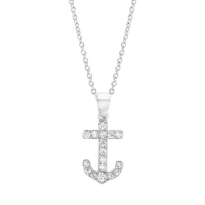 Imagen de Silver-Tone Brass Cubic Zirconia Anchor Pendant