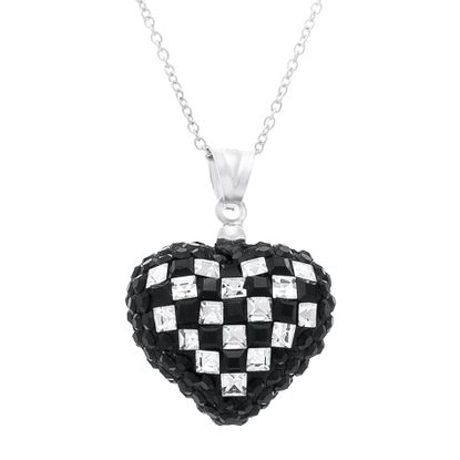 Imagen de Sterling Silver Cubic Zirconia Black Checkerboard Design Puff Heart Pendant