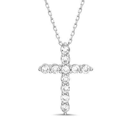 Imagen de Sterling Silver Cubic Zirconia 3 Prong Cross