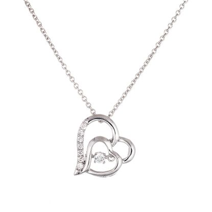 Picture of Sterling Silver Polished and Cubic Zirconia Double Open Heart Beat Pendant and Necklace
