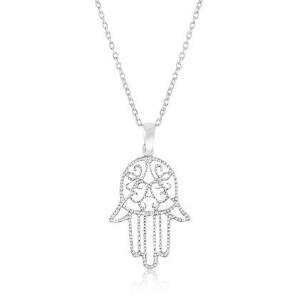 Imagen de Sterling Silver Textured Hamsa Pendant