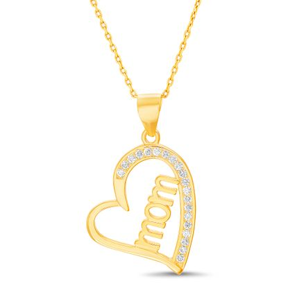 Imagen de Sterling Silver Cubic Zirconia Polished MOM Heart Open Design Pendant