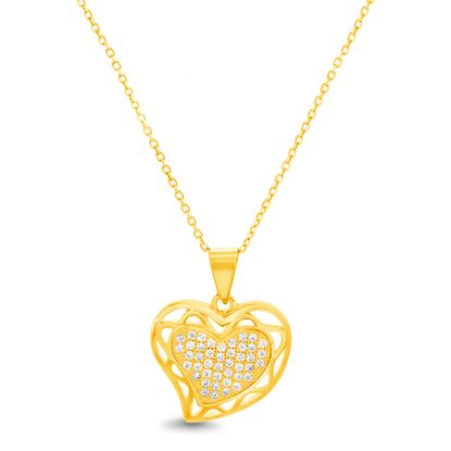 Picture of Sterling Silver Cubic Zirconia Polished Open Border Design Heart Pendant