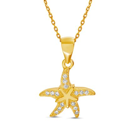 Imagen de Sterling Silver Cubic Zirconia Polished Starfish Pendant