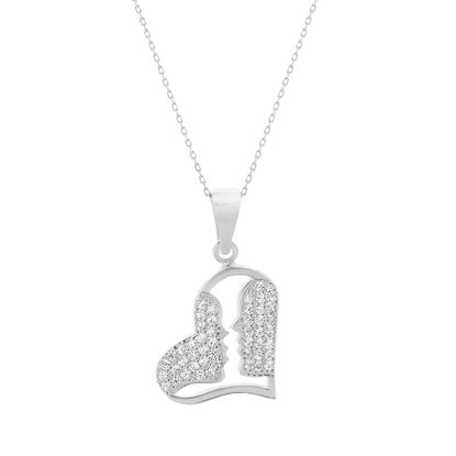 Picture of Cubic Zirconia Open Heart and Kisses Pendant in Sterling Silver