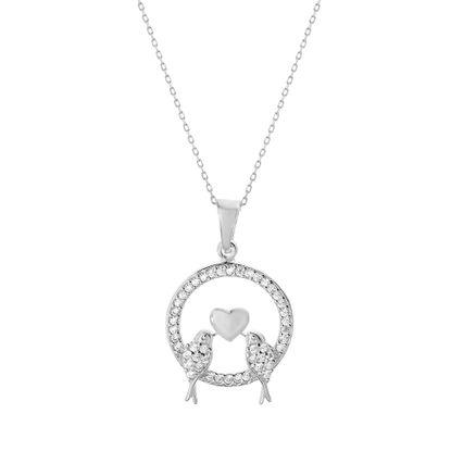 Imagen de Cubic Zirconia Love Birds Open Circle Pendant in Sterling Silver