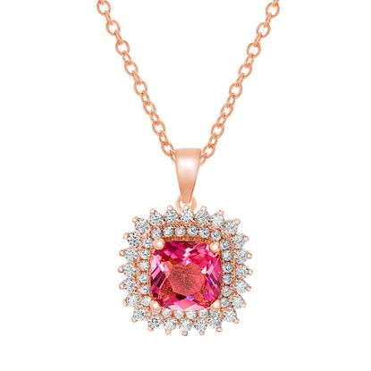 Imagen de Pink/Clear Cubic Zirconia Asscher Cut Double Halo Necklace in Rose Gold over Sterling Silver