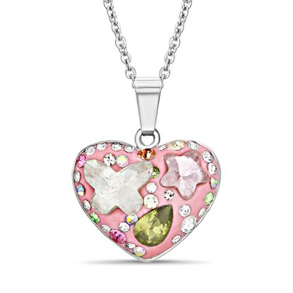 Imagen de Brass Cubic Zirconia Multi-Color and Shape Heart Pendant Cable Chain Necklace