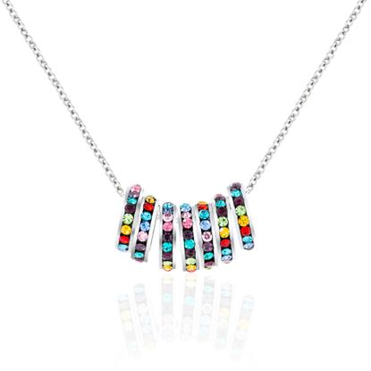 Picture of Multi Colored Cubic Zirconia 7 Piece Rondelle Rolo Chain Necklace