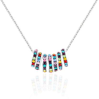 Imagen de Multi Colored Cubic Zirconia 7 Piece Rondelle Rolo Chain Necklace