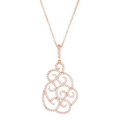 Imagen de Rose-Tone Brass Cubic Zirconia Swirl Pendant Cable Chain Necklace