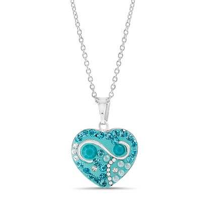 Picture of Rhodium Plated Brass Turquoise & Clear Crystal Heart Pendant