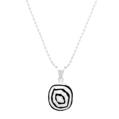Imagen de Silver-Tone Stainless Steel Black and White Resin Pendant