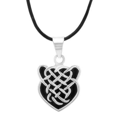 Imagen de Silver-Tone Stainless Steel Mens Black Enamel Criss Cross Design Shield Pendant 22+2 Black Leather Cord Necklace