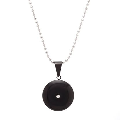 Picture of Black-Tone Stainless Steel 28mm Cubic Zirconia Round Pendant