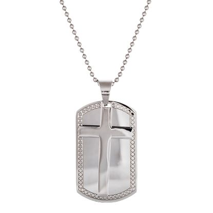 Imagen de Men's Silver-Tone Stainless Steel Dog Tag and Cross Pendant