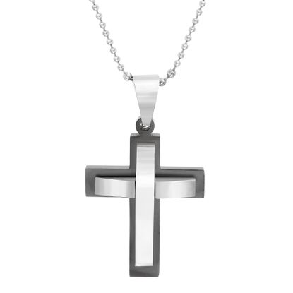 Imagen de Two-Tone Stainless Steel Mens 57mm Double Layered Cross Pendant
