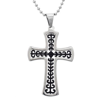 Imagen de Two-Tone Stainless Steel Men's Black Cubic Zirconia Polished Rim Cross Pendant 24 Ball Chain Necklace