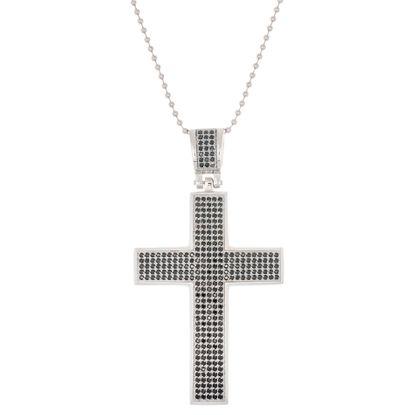Imagen de Silver-Tone Stainless Steel Polished Cubic Zirconia Cross Pendant