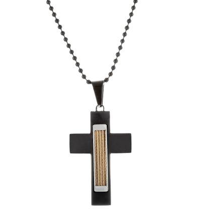 Imagen de Men's Tri-Tone Stainless Steel Wire Cross Pendant