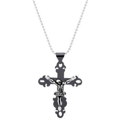 Imagen de Two-Tone Stainless Steel Men's Oxidized Double Layered Crucifix Pendant
