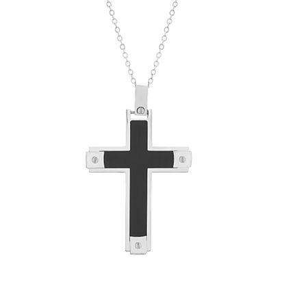 Imagen de Two Tone Black Stainless Steel Cross Pendant