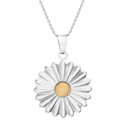 Imagen de Two-Tone Stainless Steel Sunflower Pendant 18 Ball Chain Necklace