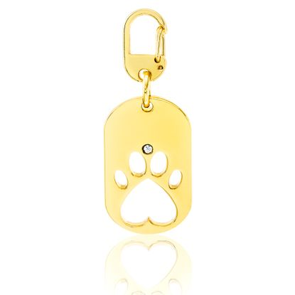 Picture of Gold-Tone Alloy Open Oval Shaped Paw Disc Pent Charm Pendant